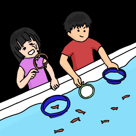 金魚すくいをする子どもたち